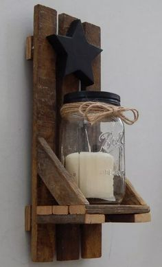 candle holder Mason Jar Candle Holder, Wall Sconce With Shelf and Star. Made With Reclaimed Tobacco Stick/ Tobacco Lath Wood Mason Jar Candle Holders, Wall Candle Holders, Mason Jar Candles, Mason Jar Shelf, Wood Projects For Beginners, Diy Wood Projects, Rustic Wood Shelving, Pallett Shelves, Wood Shelves