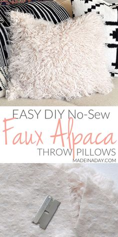 No Sew DIY Kilim Throw Pillow Covers is part of Upcycled Crafts Sewing Pillow Covers - Make these easy no sew textured Boho Throw Pillows form a rug runner! Sewing Throw Pillows, Boho Throw Pillows, Diy Pillows, Ikea Pillow, Throw Cushions, Easy Sewing Projects, Sewing Projects For Beginners, Diy Projects, Sewing Diy