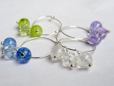 Items similar to Beaded wine charms - glass wine charms - pastel wine charms - girlie girl - crackle glass beads - wine glass charm - wine accessories on Etsy Wine Glass Charms, Glass Beads, Crackle Glass, Lilac, Pastel, Charmed, Crystals, Silver, Gifts