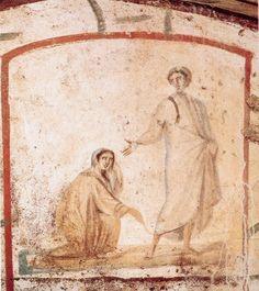 Escena bíblica, siglo IV, Catacumbas de los Santos Pedro y Marcelino(1)