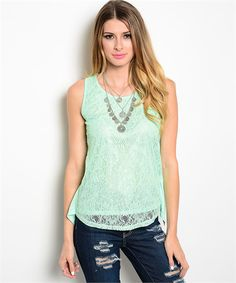 Sleeveless Lace Mint Top | Cali Boutique | FREE shipping to the U.S. | Unbeatable boutique prices | Sizes up to 3x