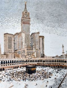 As revealed by the Qur'an Mecca is the birthplace of the prophet Muhammad. This handmade mosaic depicts the holy city. It is made up of all natural stones and can be placed on the wall to decorate your living room office or entrance corridor. Mecca Wallpaper, Islamic Wallpaper, Islamic Architecture, Futuristic Architecture, Mekka Islam, Mecca Live, Ancient Egyptian Paintings, Mecca Kaaba, Mekkah