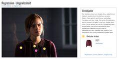 Der Kleiderschrank von Angela Gray (alias Emma Watson) besteht zum Großteil aus simplen Basics. Dazu gehört auch dieser kuschelige Cardigan aus roter Wolle. Die grobe Strickstruktur gehört praktisch zu allen Looks von Angela dazu. Ihren Outfits verleiht sie mit den Strickjacken eine konservative, fast schon altmodische Note, sodass ihre Kleidung und ihr Style im Wesentlichen den Charakter der Rolle im Film Regression erst richtig authentisch wirken lässt.