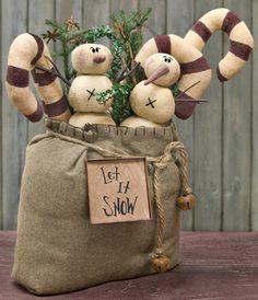 goodie bag let it snow christmas winter stuffed seasonal decor candy cane snowman jingle bells greenery - Primitive Christmas Ornaments