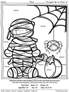 Halloween ColorbyNumber Kinder October Halloween