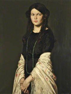 Joyce and a Mantilla Shawl c.1912 by Howard Somerville (1874-1952)