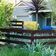"""The fence panels of ipe wood, together with Arbutus trees, define the new outdoor room but don't completely block the view from the street. """"We have a warm, friendly neighborhood, so I didn't want anything barrier-like,"""" says Ginny."""