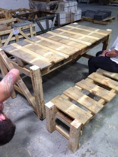 The Quick and dirty picnic table and benches out of pallets.