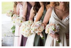 The Estate On The Halifax Wedding, Gorgeous Boquets, Lilac, Blush, Pink, Multi color bridesmaid dresses, Florida Bride
