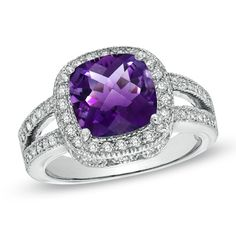 Cushion-Cut Amethyst and 1/2 CT. T.W. Diamond Frame Ring in 14K White Gold - Zales $1444.15