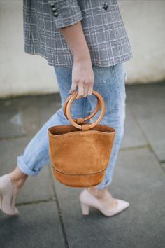 Emma Hill wears Dune x Rupert Sanderson cream leather 'Ella' heels, Levis 501 boyfriend ripped jeans, Isabel Marant Endless t-shirt, check blazer, Simon Miller tan nubuck suede ring handle 'Bonsai' bag