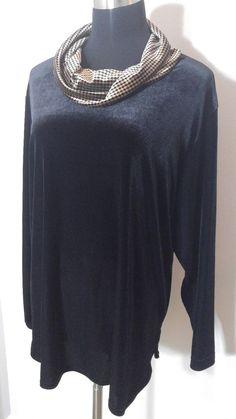 Coldwater Creek Black L Shirt Velour Brown Houndstooth Velvet Soft Cowl Neck…