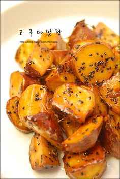 고구마 맛탕 - Goguma Mattang - Korean caramelized sweet potato dessert.  Best eaten hot, while the strings of sugar still stretch from your mouth.