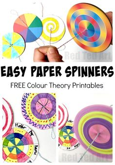 Easy Paper Spinners Tutorial - ever wondered how to make these fun paper toys? They are a super easy kids crafts! And a great way to explore COLOUR Wheel THEORY. So makes a great STEAM project too. You can either experiment to your hearts content or use our super handy Paper Spinner Printables - perfect for colour theory exploration! Make this Kids DIY today! - Red Ted Art's Blog
