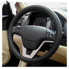 [$1.63] Leather Steering Wheel Cover To Cover Car Skid Car (Colour: Black, Adaptation Steering wheel diameter: 38cm)