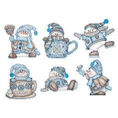 Cocoa Snowmen Plastic Canvas Kit