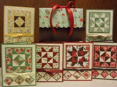 handmade cards ... various quilt block designs with same card layout ... sweet!!! ...Stampin' Up!