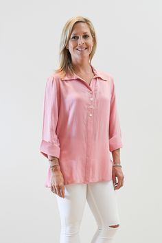 The Mason Button Front and Back Button Tunic in Blossom Pink - Liza Byrd Boutique