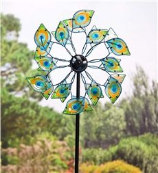 Glass Peacock Solar Wind Spinner