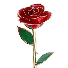 Valentines Day Gifts For Her QGSTAR 24k Gold Dipped Real Rose Preserved Forever Flower Best Romantic Loving Gift for WifeGirlfriendBirthdayMothers DayWedding Anniversary Red * Click on the image for additional details.