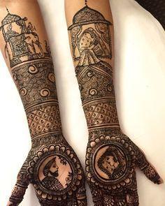 Rajasthan Theme Mehndi Design on Arms