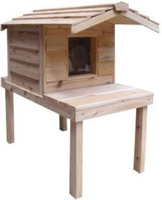 Insulated Cedar Outdoor Cat House with Lounging Deck and Extended Roof CozyCatFurniture