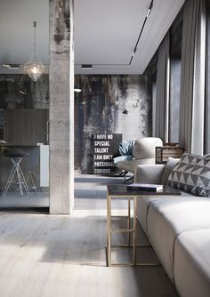 found by hedviggen ⚓️ on pinterest | if my house had many rooms | interior design | interior styling | walls | floor | living room | modern | industrial | hallway | loft | wood | white | dark wall
