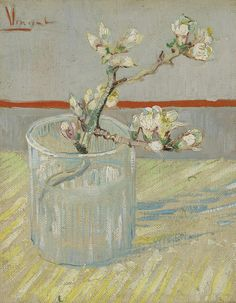 Blossoming Almond Branch in a Glass - Vincent van Gogh . Created in Arles, France in March - early in month, Located at Van Gogh Museum Vincent Van Gogh, Flores Van Gogh, Desenhos Van Gogh, Van Gogh Flowers, Van Gogh Arte, Van Gogh Pinturas, Almond Blossom, Van Gogh Paintings, Art Van