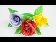 DIY Very Easy Paper Rose - TCraft. How to make a beautiful paper rose with just paper and glue. Origami paper flower and many more home decors in TCraft. This DIY paper rose is beautiful and easy to make. Crepe Paper Crafts, Crepe Paper Roses, Paper Flowers Diy, Flower Crafts, Diy Paper, How To Make Rose, How To Make Paper, Easy Origami Rose, Paper Craft Supplies
