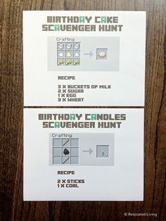 As promised, I'm following up my Minecraft Birthday Party post with instructions and printables for our super successful Minecraft Birthday Cake Scavenger Hunt and T-Shirt Party favor.First up, here is the down low on the Minecraft Scavenger Hunt. I debated for a long time about whether they…