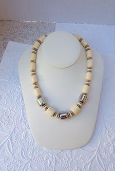 Vintage Avon Ivory Barrel Bead 18.5 Necklace by TheCitrineBee