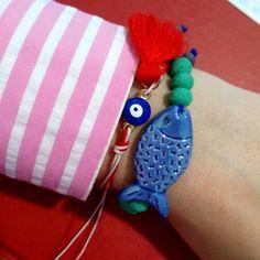 Handmade unique bracelet with ceramic fish. Love this little blue fish. Ceramic Fish, Ceramic Beads, Unique Bracelets, Beaded Bracelets, I Love Jewelry, Unique Jewelry, Handmade Jewelry, Handmade Gifts, Ceramics