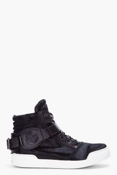 BALMAIN Black Calf-Hair Sneakers. $1175.