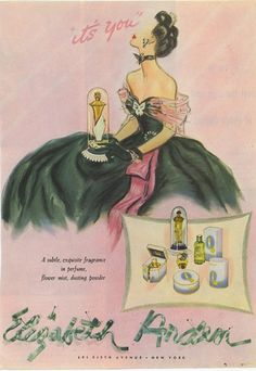 and scores of glamour served up in a beautifully illustrated Elizabeth Arden ad.Scores and scores of glamour served up in a beautifully illustrated Elizabeth Arden ad. Pin Up Vintage, Vintage Glamour, Vintage Beauty, Vintage Ads, Vintage Posters, Vintage Fashion, Vintage Trends, Perfume Ad, Vintage Perfume