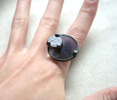 Statement purple ring  stained glass & copper by ArtKvarta on Etsy, $30.00