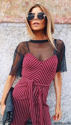 pretty cool outfit : top + bag + stripped jumpsuit