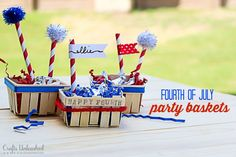 These adorable patriotic party favor baskets add a fun and personal addition to your 4th of July BBQ! They're simple to make and completely customizable!