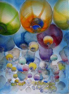 Carol Carter, Chinese Lanterns, Watercolor, 2012