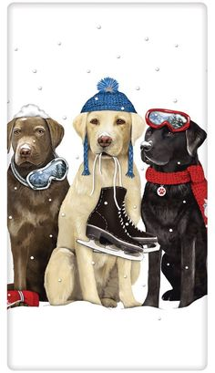 Winter Trio Retriever Dogs 100% Cotton Flour Sack Dish Towel Tea Towel
