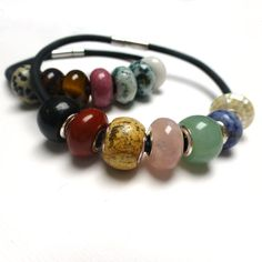 Leather Chakra Bracelet. Leather Large Hole Bead Bracelet. Gemstone Bracelet. Interchangeable Bracelet. on Etsy, $45.00