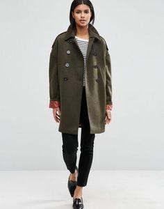 Свободное пальто-бушлат на контрастной подкладке ASOS
