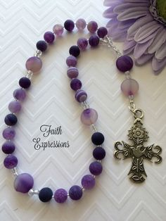 Anglican Prayer Bead Rosary, Protestant Prayer Beads, Purple Frosted Matte Agate, Holy Spirit Dove Cross, Woman's  Rosary, Christian Gift by FaithExpressions on Etsy  $45