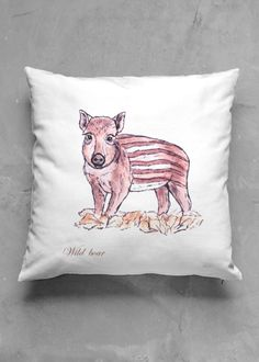 WILD BOAR - DEAU  http://shopvida.com/collections/dominique-janssens  #wild #boar #christmas #fashion #pillow #interior #forest #nature #home #decoration #luxury #scarf #tote #bag
