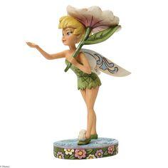 4045255 Spring Shower (Tinker Bell)- Tinker Bell takes shelter under a fresh flower while taking a stroll in the spring rain #jimshore #tinkerbell #disney