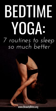 If you can't fall asleep, or want to sleep better at night - try bedtime yoga! Discover 7 yoga sequences and yoga poses will help you relax after a long day, so you can sleep so much better!
