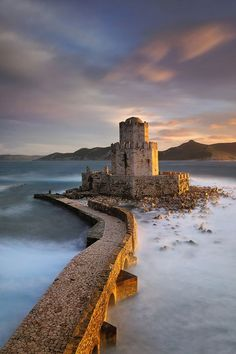 Methoni Castle overlooking the Ionian Sea. Built 13-century. One of the largest castles in the Mediterranean. Methoni, Greece