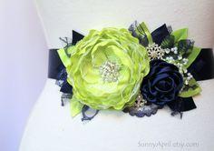 Navy Blue Green Chartreuse Wedding Ribbon Sash by SunnyApril