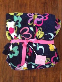 Vera Bradley Ribbons Plush Throw Blanket Fleece NEW Sold Out Breast Cancer Print