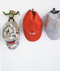 Action figures that aren't seeing action anymore - used for hat hooks