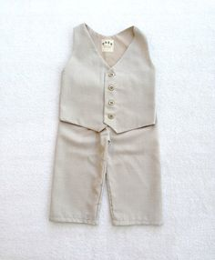 sand colored Ring Bearer Outfit Vest and Pants Vintage Style by fourtinycousins